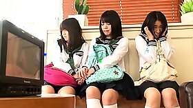 Sexy Japanese schoolgirls face fucking hardcore sex