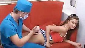 Beautiful British nurse bangs horny patient
