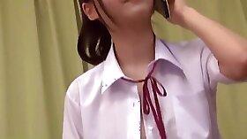 Blonde Japanese Schoolgirl in The Library