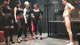 Mistress strokes his butt in a profceed
